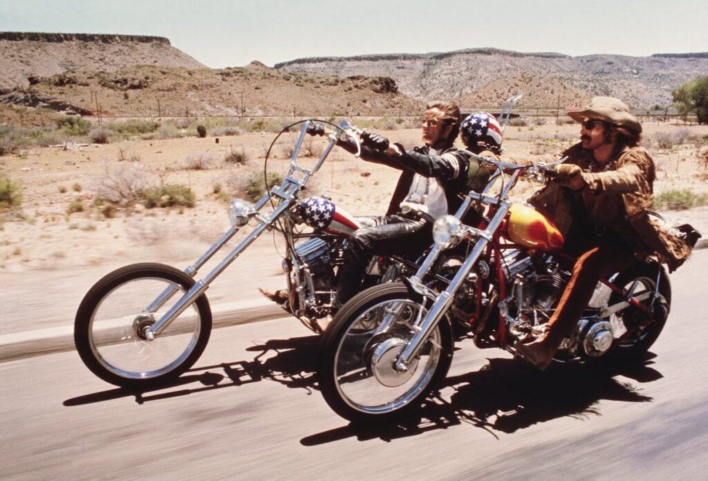 Harley Davidson Panhead chopper fra 50'erne, ombygget til filmen 'Easy Rider' i 1969. En af tre oprindelige. Er i dag restaureret som den så ud i filmen.